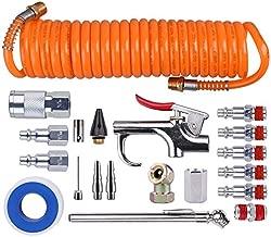 WYNNsky 1/4 Inch NPT Air Accessory Kit - 20 Piece, Air Compressor Hose Tool Kit with Coil PU Hose/Blow Gun/Tire Gauge/Storage Case