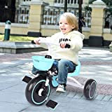 Lanhui New Kids Tricycle , Foldable Children Tricycle , Adjustable Seat , with Large-Space Storage Box , Carbon Steel Frame Toddle Boys Girls Tricycle 27.5x17.7x19.6in , Suitable for 2-5 Age (Blue)