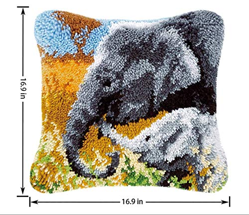 Kit de ganchillo de mano para bordado a mano, kit de iniciación de felpa para alfombra de ganchillo no acabado, 40 x 40 cm, diseño de elefante familiar