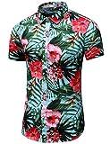 LEFTGU Men's Slim fit Floral Printed Short-Sleeve Button-Down Hawaiian Shirt (Medium Chest: 41.7 inch, 6914 red)