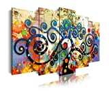DekoArte 486 - Cuadros Modernos Impresión de Imagen Artística Digitalizada | Lienzo Decorativo para Tu Salón o Dormitorio | Estilo Abstractos Árbol de la Vida de Gustav Klimt Rojo | 5 Piezas 150x80cm