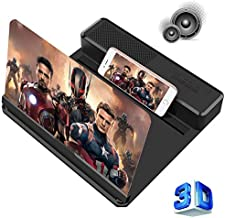 Phone Screen Magnifier with Bluetooth Speaker – Mobile Phone 3D HD Amplifier Screen Projector Enlarger for Movies, Gaming – Foldable Phone Stand with Laudspeaker – Compatible with All Smartphones