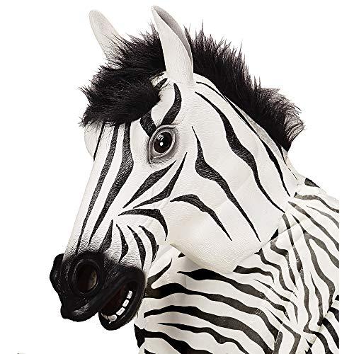 Widmann 96649 masker zebra met pluche haar, unisex – volwassenen, wit/zwart, eenheidsmaat