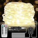 LED Lichtschlauch Außen, 15M 200 LED Schlauch mit Fernbedienung & Timer, 8 Modi und Helligkeit dimmbar, Lichterkette Strombetrieben mit EU-Stecker für Weihnachten Party BalkonDeko[Energieklasse A+++]