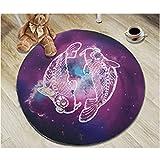 Lulunake丸いラグ 円形の星座のカーペット 寝室浴室椅子コーヒーテーブルカーペット 直径0.6m-2m,12,0.8m