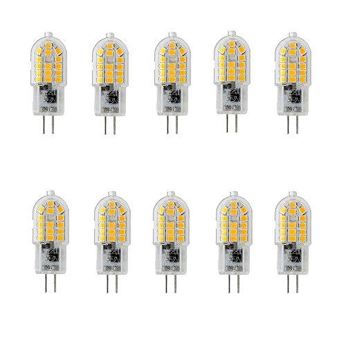 OUGEER 10 Stück Energiesparende G4 3W LED Birne, 30 SMD 2835,Warmweiß 3000K, 300lm, AC 220-240V LED-Lampen Ersatz 30W Halogenlampe