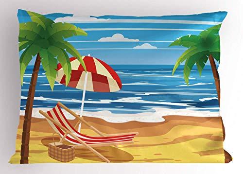 GFFD Tropical Party Pillow Sham Beach Chaise Long Palm Trees Waves Tide Cartoon Pillowcase Sky Blue Emerald