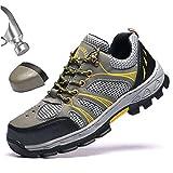 Ligeras Zapatos de Seguridad para Hombre con Puntera de AceroTranspirables Zapatillas de Seguridad TrabajoAntideslizantes Anti-Piercing Calzado de Industrial y Deportiva,37