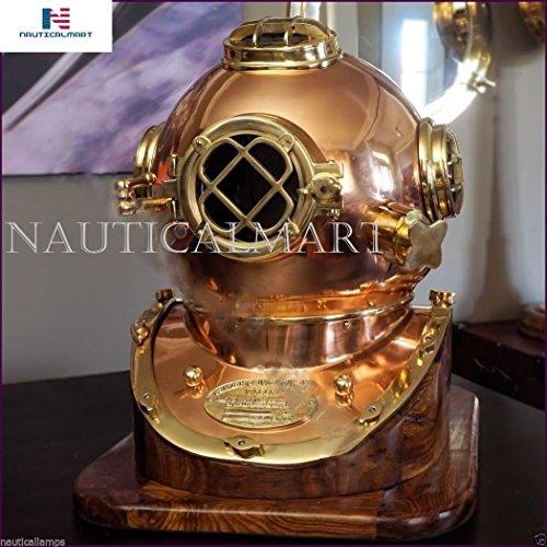 NAUTICAL MART Nautique Mart Laiton Antique en cuivre Casque de Plongée de Plongée US Navy Mark V Laiton Massif 45,7 cm W/Base