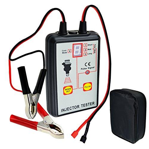 Handheld Automotive Car Fuel Injector Tester Pressure System Diagnostic Tool 4 Pulse Modes 12V Scan Tool Gauge for Stuck/Leaking/Burnt-out/Starting/RPM/throttle loads