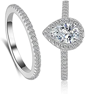 Classic Bridal Ring Set 0.75 Ct Pear Cut Teardrop Halo Ring Eternity Infinity Band Size 4 5 6 7 8 9 10