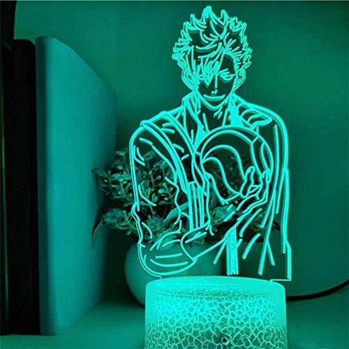 Lámpara 3D de luz nocturna ilusión de humor Haikyuu 16 colores cambiantes con mando a distancia, regalo de cumpleaños y vacaciones para niños y niñas