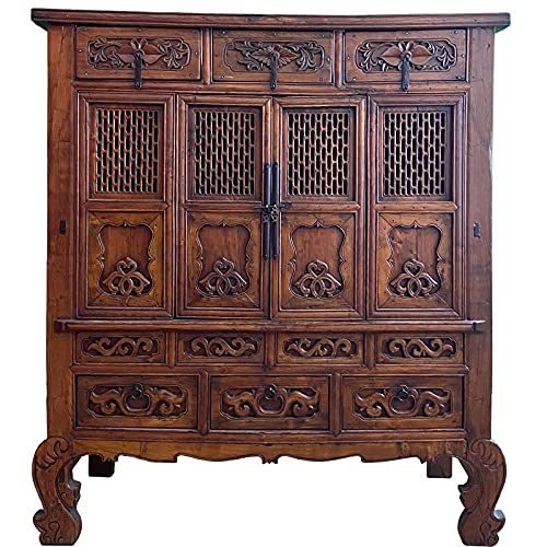 Asia Möbel - Armario alto (51 x 133 x 151 cm, madera de imitación tallada, estilo de vida asiático)
