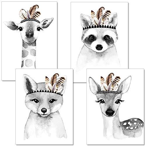 artpin® 4er Set Poster Kinderzimmer Wohnzimmer Schwarz Weiß - A4 Bilder Babyzimmer - Deko Junge Mädchen P15