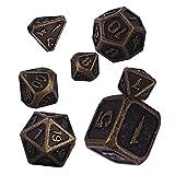 Schleuder Juego de Dados de Metal Dice Set, D&D Poliédricos Dados de rol para RPG DND Matemáticas Juegos de rol Dragones y Mazmorras Juego de Mesa (Barrel Bronze Plating)