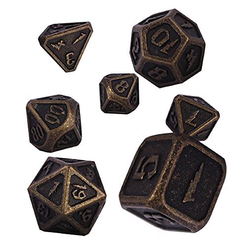 Schleuder Dadi D&D Set Metallo DND, 7 Pezzi Dadi da Gioco di Ruolo Dice Set Poliedrici Zinco in Lega per Rpg Dungeons & Dragons Insegnamento della Matematica (Barrel Bronze Plating)