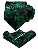 JEMYGINS Silk Green Floral Necktie and Pocket Square, Hankerchief and Tie Bar Clip Sets for Men (5)
