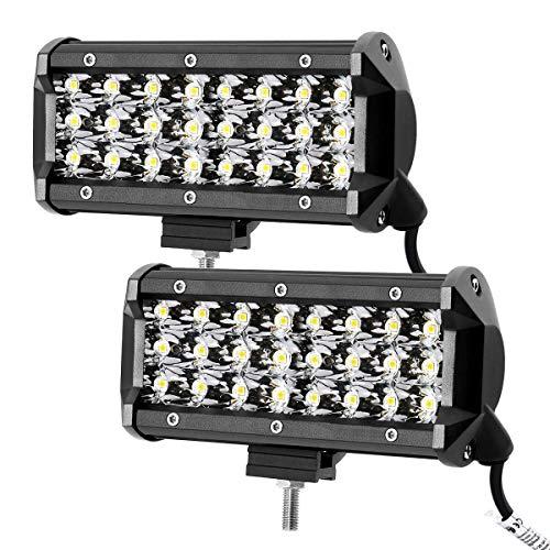 LE Focos de Coche 2pc 72W, 12 LED Potentes, Resistente al agua IP67, Blanco Frío, Faro para Camión, Todoterreno, Tractor, Barco etc
