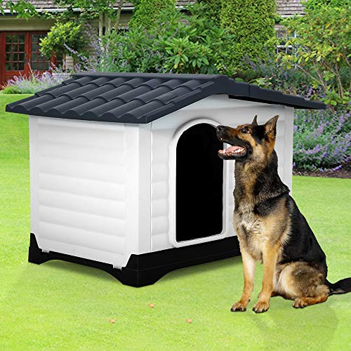 Dog House, Large Dog House for Small Medium Large Dogs, Water Resistant Ventilate Plastic Durable Indoor Outdoor Pet Shelter Kennel with Air Vents and Elevated Floor, Easy to Assemble