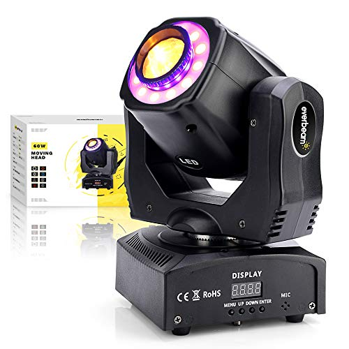 Everbeam 60W LED Moving Head Light. Sound Activated DJ Lights and DMX Light. 7x RGB Lighting and 7x GOBO for Club Lights, Stage Lights, Party Light, Disco Ball Uplighting, DJ Facade Laser and Events