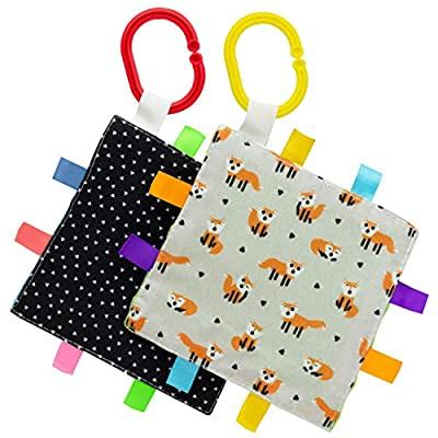"""S&T INC. Baby Crinkle Squares with Satin Tabs & Stroller Hooks, Fox Print, 6"""" X 6"""""""
