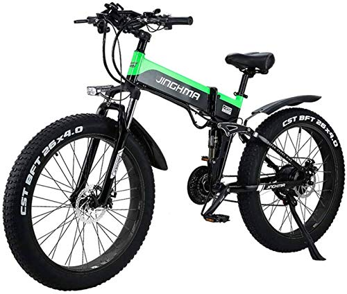Fangfang Electric Bikes, Electric Mountain Bike 26' Folding Electric Bike 48V 500W 12.8AH Hidden Battery Design with LCD Display Suitable 21 Speed Gear and Three Working Modes,E-Bike (Color : Green)