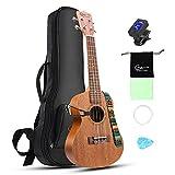 Hricane Concert Ukulele UKM-2 23inch Professional Mahogany Ukulele Hawaiian Guitar Pack with Gig