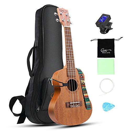 mahogany ukuleles Ukelele Hricane Concert Ukulele 23inch Professional Mahogany Ukele Hawaiian Uke UKM-2 Pack with Gig Bag