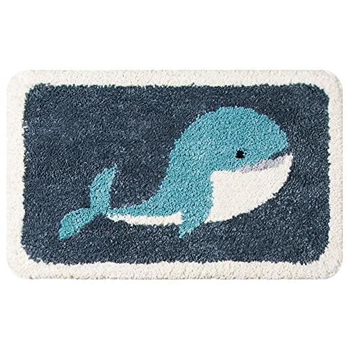 Alfombra de baño Antideslizante de Ballena Azul de Dibujos Animados Microfibra Ultra Suave Lavable a máquina, fácil de Limpiar, superabsorbente, Adecuada para bañera Ducha y baño