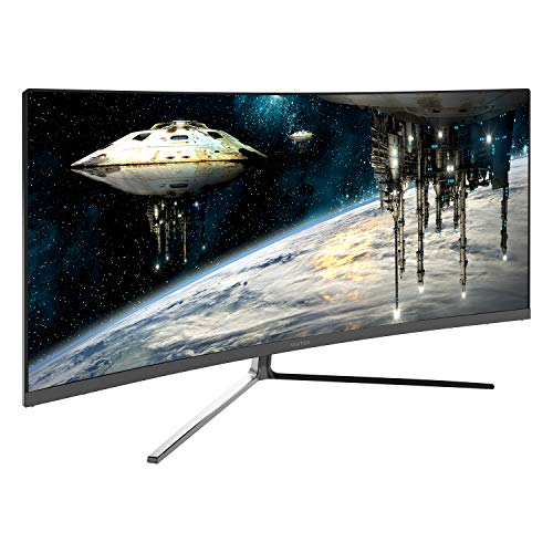 Viotek GN34CB 34-Inch 21:9 Ultrawide Curved QHD Gaming and Professional Computer Monitor, 100Hz 1440p, FreeSync FTS/RTS VESA (Black)