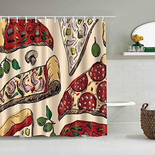 N\A Duschvorhang Essen Pizza wasserdichte Badvorhänge Haken enthalten - Badezimmer dekorative Ideen Polyester Stoff Zubehör