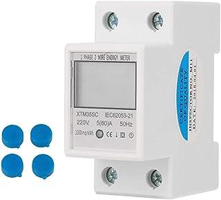 KSTE Contador eléctrico, 220V 5 (80) A Digital 1-Fase 2 Wire 2P DIN-Rail Contador eléctrico electrónico KWh Meter