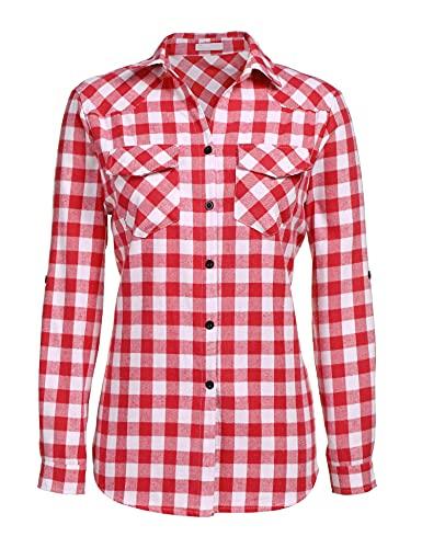 Unibelle, camicia da donna a quadretti, camicia a quadri, a maniche lunghe, in cotone, scollo a V, casual, stile Boyfriend, con maniche regolabili, taglia S-XXL rosso anguria S