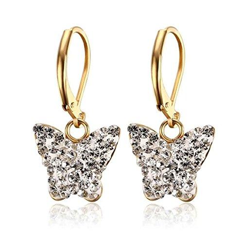 ANAZOZ Edelstahl Ohrring Für Damen Drop Ohrringe Zirkonia Gold Weiß Schmetterling 12x16MM