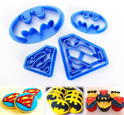 ilauke 4tlg. Keks Fondant Ausstecher Batman Super Hero Ausstechformen Superman Sugarcraft Cake Cookies Toast Cutter Dekoration Modellierwerkzeug Deko Stempel Set