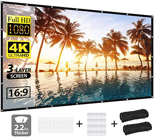 Projector Screen, vamvo 3-Layer Movie Screen pro, 120 inch 16:9 HD Portable Projection Screen, Foldable Indoor Outdoor Waterproof Front Projection Projector Movies Screen for Home Theater (White)