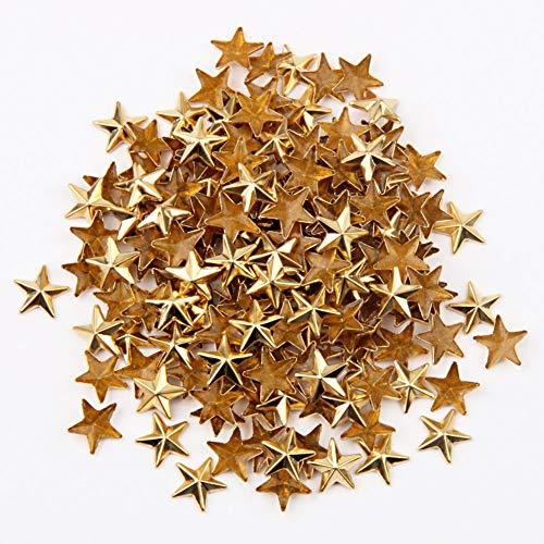 Beadsland Hotfix - Tachuelas planas con forma de estrella, 0,63 cm, 500 unidades, Dorado, 10x10mm, 1