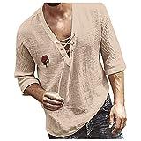Harpily Camisa de Manga Larga Cuello en V con Botones Estampado de Rosas, Camisa Hawaiana, Camisa de Colores Henley, Camiseta Transpirable, Camisetas Finas, (Beige, M)