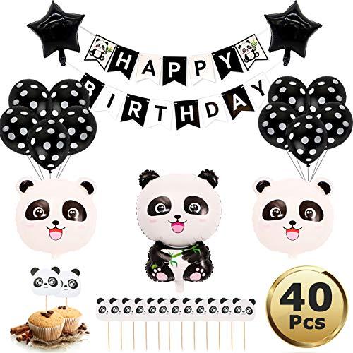 Panda Party Dekorationen gehören Panda Mylar Balloons,Kindergeburtstag Deko Panda Geburtstag Dekoration Set für Jungen Mädchen mit Happy Birthday Girlande für Geburtstag Party Babyparty Dekoration