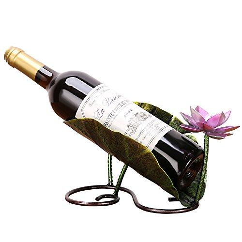 LL-COEUR Porte-Bouteille Décoration Casier à Vin Original Support pour Bouteille Feuille de Lotus Orchidée Idée Cadeau (220 x 130 x 140 mm-Feuille de Lotus)