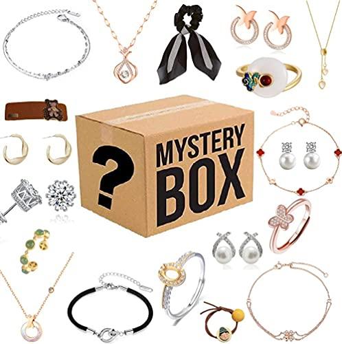 Caja misteriosa para mujer, caja ciega de joyería Lucky Box, caja sorpresa misteriosa, contiene 19 joyas exquisitas, regalo sorpresa perfecto para tu amante o para ti