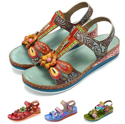 Camfosy Damen Leder Wandern Sandalen,Sommer Outdoor Handgefertigt Sandalen Flach Urlaub Freizeit Schuhe Verstellbare Klettverschluss Gemütliche Barfuß-Gefühl Wanderschuhe