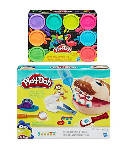 Play Doh Doctor Drill 'n Fill Play Set + Play Doh 8 Pack Neon Compound
