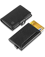 Korthållare plånbok, plånbok läder män, smal plånbok män, minimalistisk plånbok pop up, aluminium RFID plånbok, kompakta plånböcker för män med stor myntficka, 8 kort