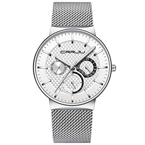 Relojes para Hombre Plataforma de Plata de Plata de Lujo Impermeable Ultra Delgado Cita Reloj Masculino Correa de Acero Casual Reloj de Cuarzo Blanco Deportivo Reloj de Pulsera
