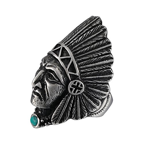 Zoro Mens Stainless Steel Vintage Tribal Leader Native American Indian Chief Head Ring with Feather Turquoise