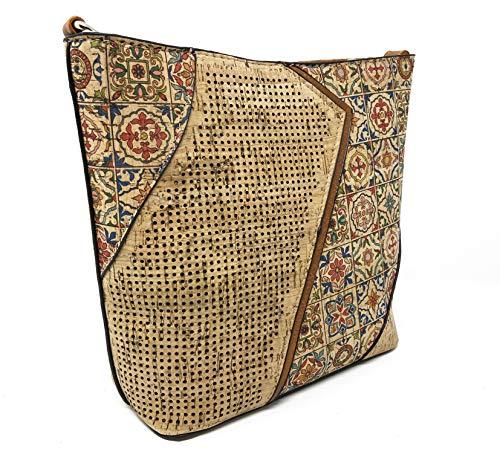CORKCHO Mandala Design Borsa A Tracolla In Sughero Traforato Con Motivo Laser Tagliato Mandala Design Multicolore