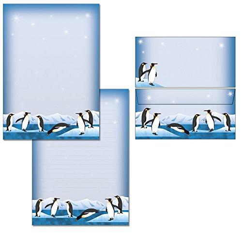 nette Pinguine Briefblock Set - 1 Schreibblock DIN A4 + 15 Briefumschläge DIN lang