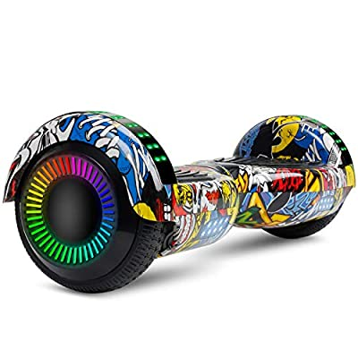 "LIEAGLE Hoverboard 6.5"" Two-Wheel Self Balancing Electric Scooter UL 2272 Certified with LED Lights Flash Lights Wheels and Portable Carrying Bag (A02 Graffiti)"