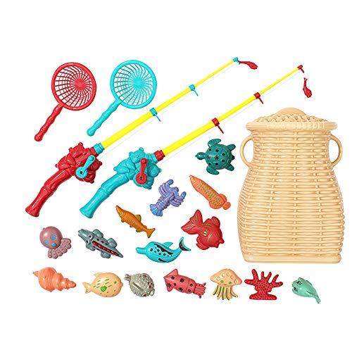 【2021最新型】Vongzhong (20点セット) 釣りゲーム おもちゃ魚釣り ゲーム 簡単操作で室内や室外、お風呂で遊べる 魚釣りおもちゃ 競争ゲーム 音楽 お風呂 流れる水 室内遊び 卓上ゲーム 子供用 知育おもちゃ 男の子